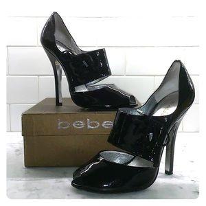 bebe JAYANNA black patent leather lace up peep toe